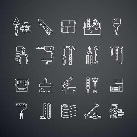 carpintero: Vector colección de iconos de reparación de la casa, incluyendo la sierra, martillo, destornillador, taladro y otras herramientas. Modernos etiquetas de estilo de línea de la casa de engranajes remodelación y elmenets. Edificio, conctruction elementos de diseño gráfico. Vectores