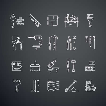repair: Vector collection of house repair icons, including saw, hammer, screwdriver, drill and other tools. Modern line style labels of house remodel gear and elmenets. Building, conctruction graphic design elements.