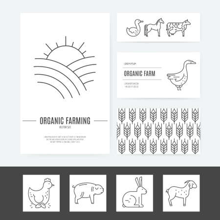 stead: Organic farming business identity collection with several elements, including letterhead, business cards and flyers.  Perfect and clean layout. Easy to edit vector template. Illustration