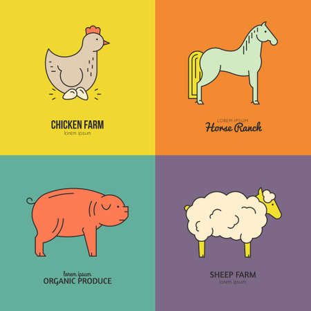 livestock: Unique vector farm animals logos for farming industry or organic products. Simple linear emblems. Farming series.