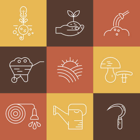 harvest field: Perfect farming icons with different agricultural and eco product harvesting design elements. Great set of line style symbols. Illustration