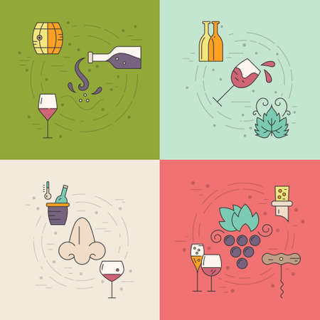 winemaking: Vector wine concept with different winemaking elements including bottle, grape, corckscrew, nose. Perfect design element for advertising, banners and flyers.