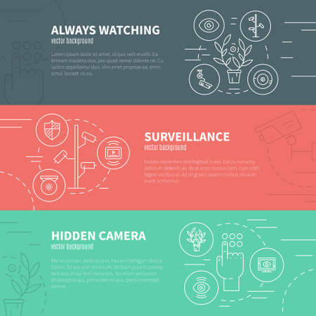 monitored area: Conceptual vector illustration on surveillance and CCTV. Flyer design for security company. Sample text.