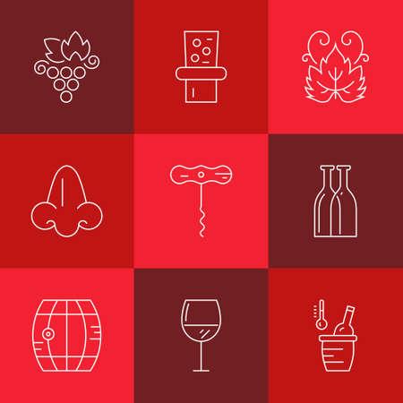 copa de vino: colección de iconos de estilo de línea - elementos de diseño del vino. Colección de símbolos del viñedo incluyendo botella, vidrio, uva, la nariz. Vectores