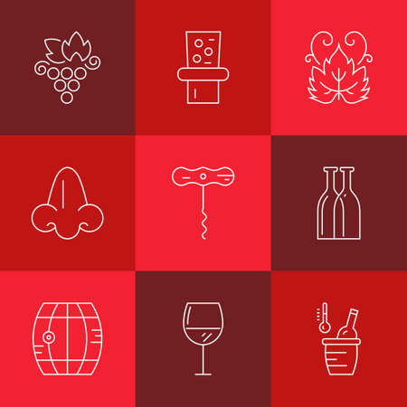 wine glass: Line style icon collection - wine design elements. Vineyard symbols collection including bottle, glass, grape, nose.
