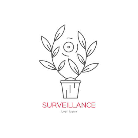 monitored area: Surveillance vector illustration. Hidden camera with flowers and book shelf. Security and protection design element.
