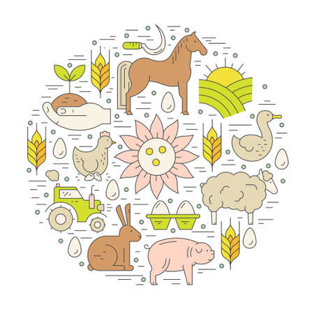 stead: Farming concept with diffirent agricultural symbols including horse, tractor, wheat made in vector. Perfect organic products banner or flyer.