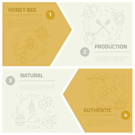 mead: Collection of vector concepts with sample text and honey related elements. Dipper, honeycomb, bee, forest.