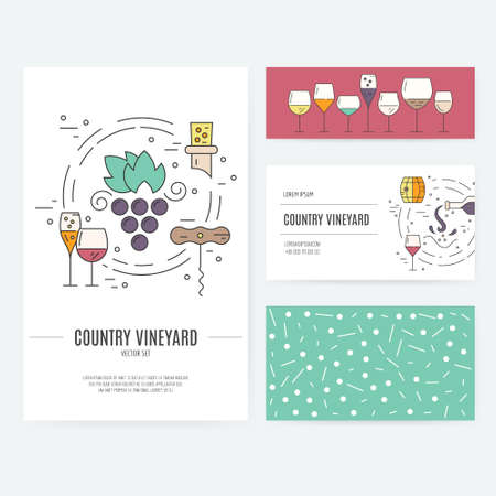 business card template: Set of business identity elements with wine theme. Vineyard or wine bar corporate identity. Business documentation.