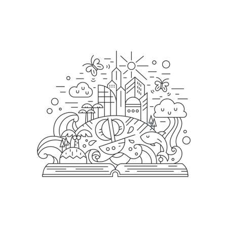 palm reading: Fairytale illustration of open book with modern city, rainbow, palms, boat, island, butterflies. Eco living and healthy planet thin line vector drawing. Imagination concept.