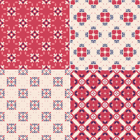 seamless tile: Elegant collection of four geometric seamless patterns. Ornamental background for cards, invitations, web pages. Retro texture or digital paper. Abstract modern tile.