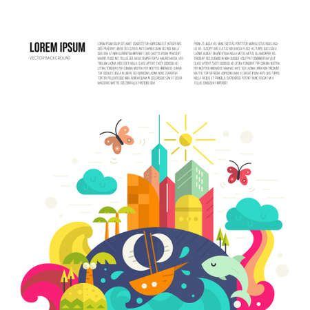 lands: Citylife illustration - modern buildings, sea, palm trees, transport, weather and butterflies. Ecology concept made in flat style vector. Illustration