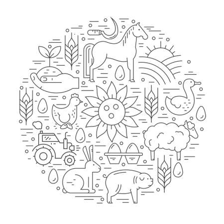 stead: Vector concept with different agricultural symbols arranged in a circle. Perfect organic products banner or flyer. Illustration