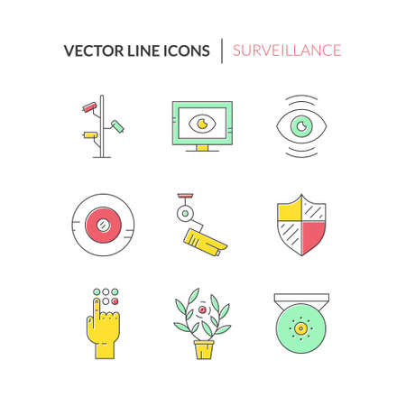 security icon: Surveillance cameras and spy devices made in vector. Modern line style icons filled with color. Security system design element. CCTV icons.