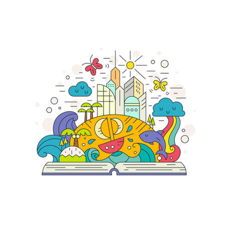 Creative illustration of learning process and cuiriosity concept. Open book with fairytale island elements - waves, rainbow, butterflies, whale, sun and buildings. Flat style imagination concept.