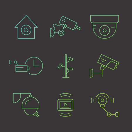 monitored area: Thin line icons with surveillance and security system elements made in vector. Modern clean design elements for website, applications and advertising.