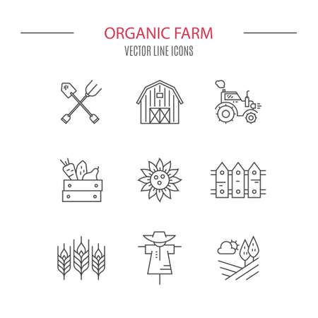 agrimotor: Clean and simple vector icons with farming and agricultural elements for local markets or farming industry. Perfect linear vector.