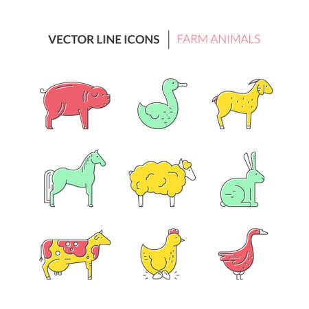 stead: Collection of farm animals including duck, goose, pig, cow. Livestock collection. Animal symbols. Illustration