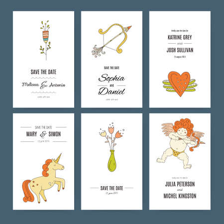 amour: Save the date card collection with hand-drawn romantic elements like amour, unicorn, bows and arrows and flowers. Vector bridal design. Illustration