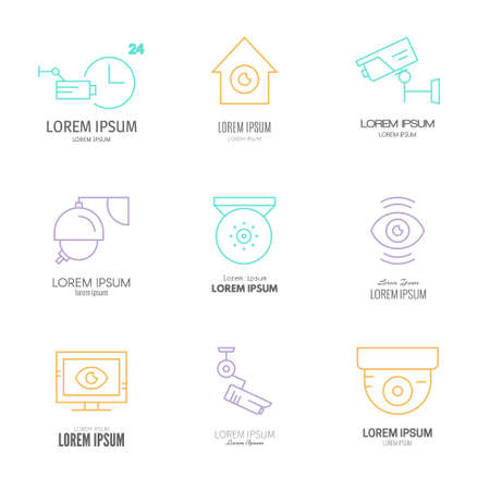 monitored area: Collection of modern line style logotypes with CCTV and surveillance cameras. Security company logo with sample text made in vector.