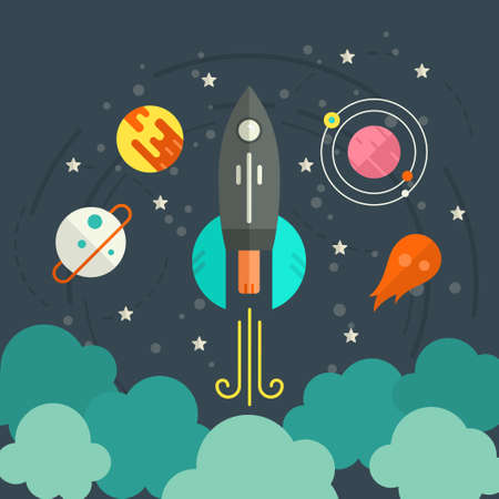 stars cartoon: Colorful start up concept with space, planets, rocket and stars. Space illustration made in modern vector. Successful launch design.