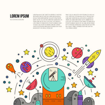 Space exploration vector concept with sample text. Moon surface, observatory with telescope, planets, meteor, sattelite. Science illustration.