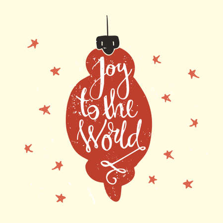joy: Joy to the world - handdrawn lettering. Vector art. Great design element for congratulation cards, banners and flyers. Xmas design. Illustration