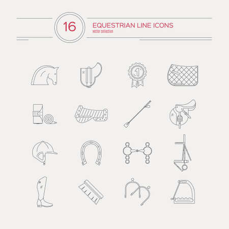 Collection of linear equestrian icons with different horse riding gear, including bits, saddle, snaffle, helmet, boots. Perfect detailed equine symbos. Modern horse riing graphic design for web site or application.