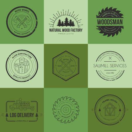 herramientas de carpinteria: Conjunto de logotipos de carpinter�a de la vendimia hechos en vector. Poste y plantillas de etiquetas fabricaci�n. Emblemas detalladas con elementos de la industria de la madera y herramientas de carpinter�a. Insignias de la carpinter�a con texto de ejemplo para su negocio.