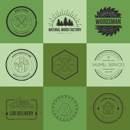 carpentry: Set of vintage carpentry logotypes made in vector. Wood work and manufacture label templates. Detailed emblems with timber industry elements and carpentry tools. Woodworking badges with sample text for your business. Illustration