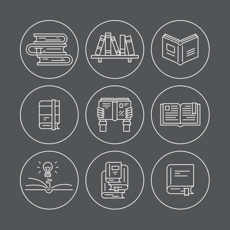 pictogramm: Set of thin line icons with different types of books. Vector education illustration. Reading pictogramm in circles. Illustration