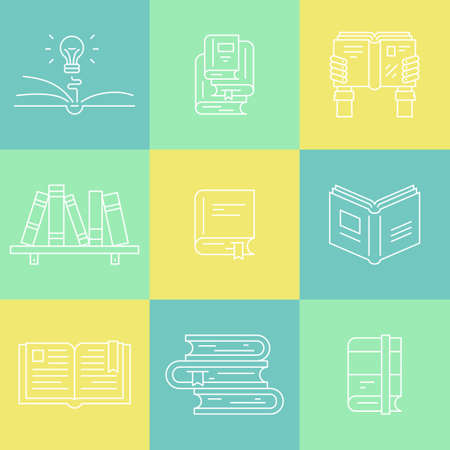 magazine stack: Thin line collection of books - education and learning symbols. Bookshelf, open book, book stack, bookmark - linear style pictogramms for your design. Illustration