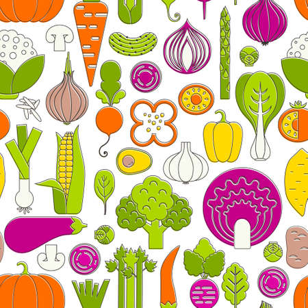 spinach salad: Vector seamless pattern with different vegetables. Perfect healthy lifestyle background. Backdrop texture for organic farm, eco food restaurant or smoothie bar.