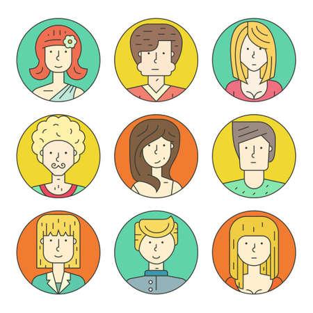 fila de personas: los colores de vectores de recogida de avatar. diseño del vector de diversos personajes, incluido el hombre y la mujer. Conjunto del icono del diseño de la línea. Vectores