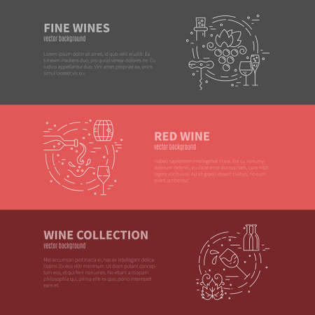 wine grapes: Wine industry template with different stages of winemaking process. Wine elements and design. Line style vector.