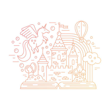 pensamiento creativo: El aprendizaje y la lectura de la ilustración con el libro abierto y una tienda de cuento de hadas. Ilustración del castillo, globo, unicornio y el arco iris. Concepto de pensamiento creativo.