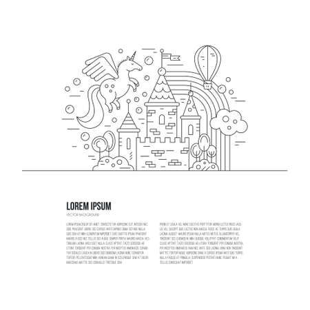 illustraiton: Line vector illustration of magic castle. Clouds, rainbow, unicorn and trees around. Environment and ecology conceptual illustraiton. Illustration