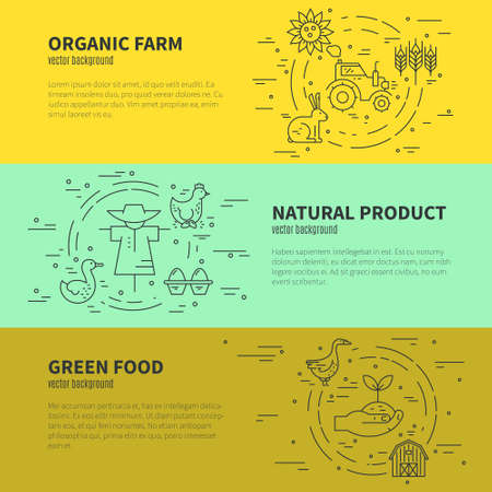 organic farming: Vector concept with different agricultural symbols. Banner design for farming company or agricultural industry.Eco products series.
