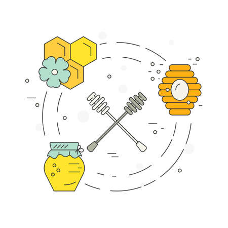 dipper: Bright vector concept with honey dipper, jar, hive and honeycomb. Perfect design element for flyer or banner. Illustration