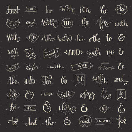 catchword: Big collection of hand sketched ampersands and catchwords made in vector. Handsketched set of design elements. Calligraphic detailes.