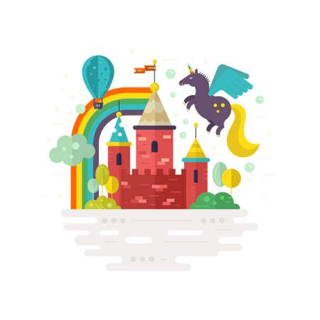 Magic castle vector illustration with brick towers, balloon, rainbow, unicorn. Fantasy and creative process concept. Modern flat style. Illustration