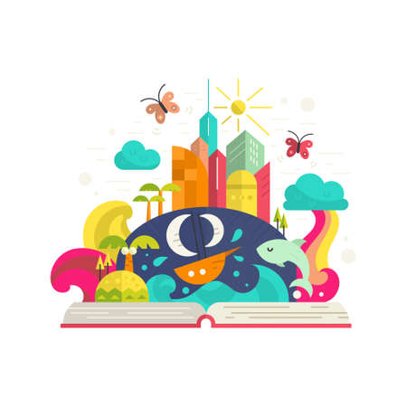 story: Creativity and imagination concept - open book with magical city inside. Ship, palm trees, tropical island, modern buildings and rainbow. Modern flat vector. Illustration