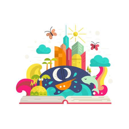 arcoiris caricatura: La creatividad y la imaginación concepto - libro abierto con mágica ciudad interior. Barco, palmeras, isla tropical, edificios modernos y el arco iris. Vector plana moderna.