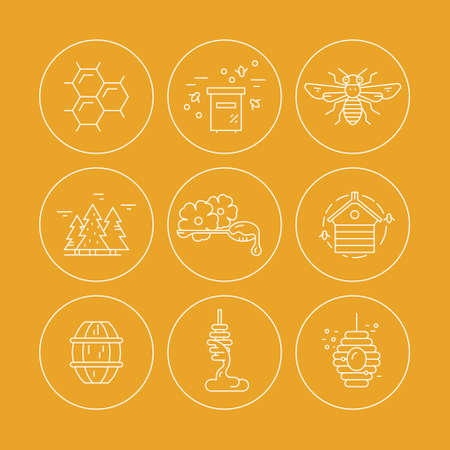 apiarist: Thin line icons with honey, bees and other beekeeping related items made in  vector.
