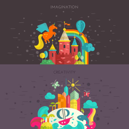 Imagination and creativity concept. Flat style vactor illustration with fairycastle and tropical island. Travel around the world banner.