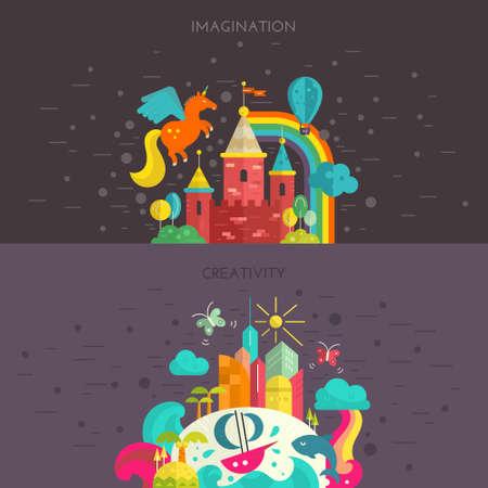 arcoiris caricatura: Imaginación y creatividad concepto. Ilustración plana Vactor estilo con isla fairycastle y tropical. Viaje alrededor del mundo bandera.