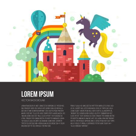 unicorn: Flat vector illustration of old castle with unicorn, trees, rainbow. Imagination and creative thinking concept.