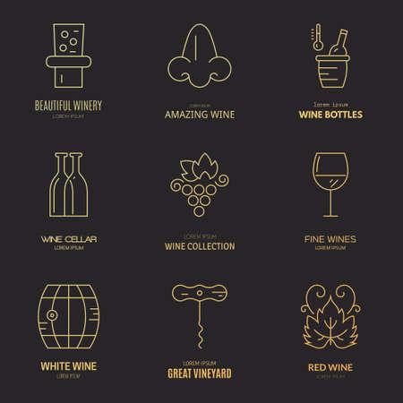 viñedo: Diferentes elementos de vino y la viña de diseño realizados en la moderna vector de estilo de línea. Logotipos de vino e insignias.