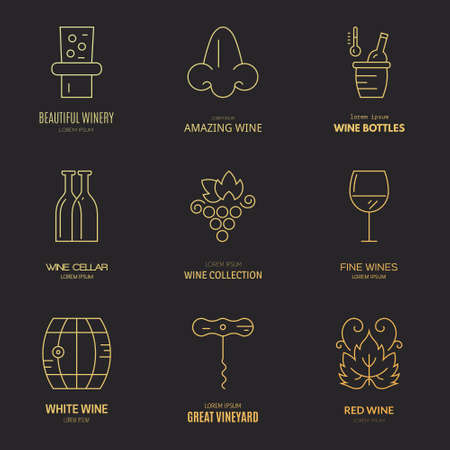 vineyard: Different wine and vineyard design elements made in modern line style vector. Wine logos and badges.