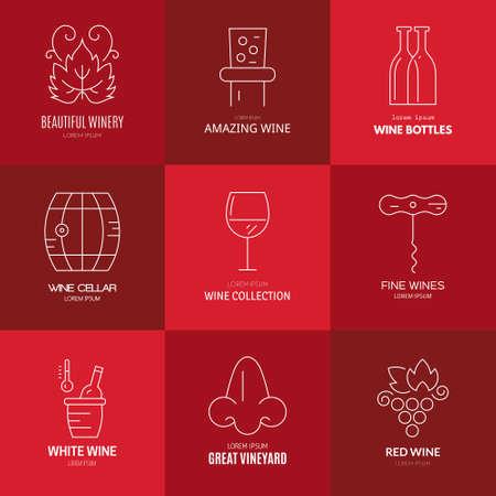 ワインのロゴのテンプレート。線スタイルのベクトル。完璧なヴィンヤード要素設計。